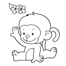 Beau Coloring Pages Of Baby Monkey