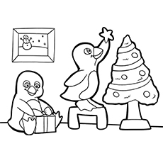 penguin decorating christmas tree coloring pages