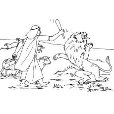 David against Goliath lion against David Coloring Pages