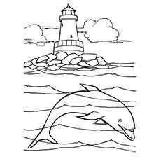 Ocean Underwater View Dolphin Coloring Pages
