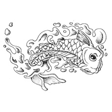 Large Koi Fish Easy Coloring