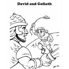 David Aiming to Hit Goliath Coloring Pages
