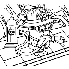 Despicable Coloring Sheet Minion A Fireman