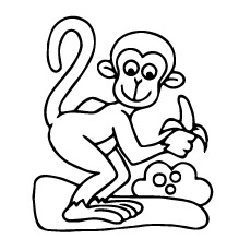 funny monkey with banana coloring pages