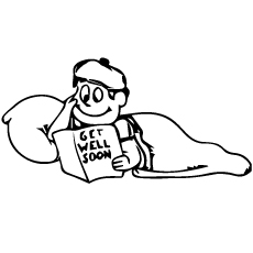 Boy Reading Get Well Soon Book Coloring Pages