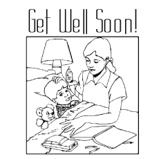 Mother Wishes her Son to Get Well Soon Coloring Pages to Print