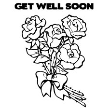 Get Well Soon Wishes with Fresh Flowers Coloring Pages