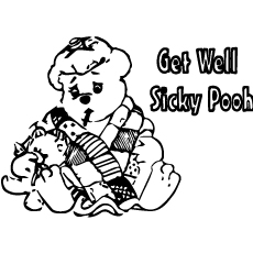 get well soon sick pooh coloring pages - Get Pages For Free
