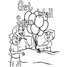 Kids Wishing Mom to Get Well Soon with Balloons Coloring Sheet
