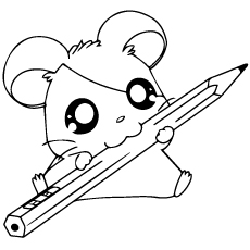 hamster with pencil hamtaro coloring pages