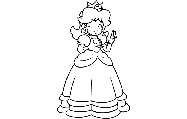 peach in her car colouring pages