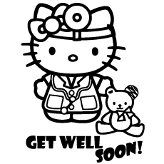 Hospital Get Well Soon of Hello Kitty Coloring Pages