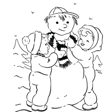 Kids are Making Snowman Coloring Pages