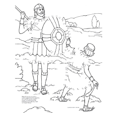 Coloring Page of Line Art of David and Goliath
