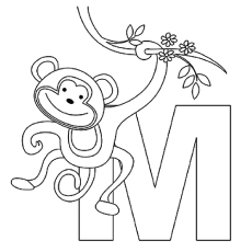 m for monkey coloring pages - Monkey Coloring Page