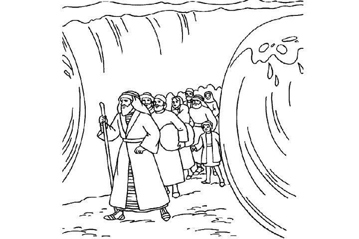 Moses Parting The Red Sea Colouring Pages