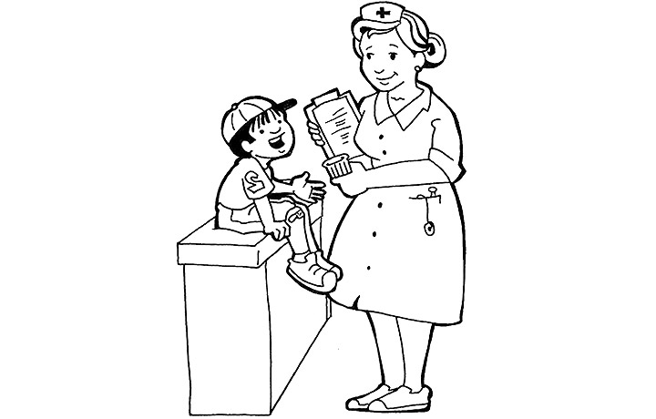 Letter N Nurse Coloring Page  printable interactive