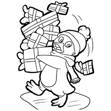 Penguin with Lots of Gifts Coloring Pages