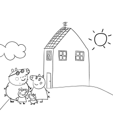 peppa pig house to color for kids