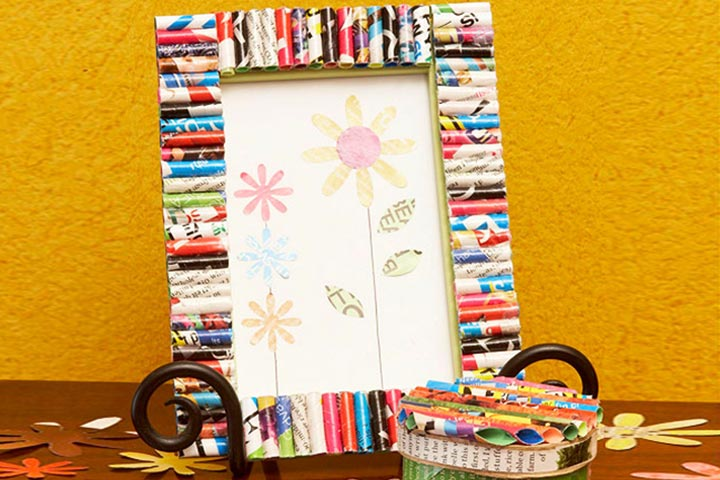 photo frame with old magazines