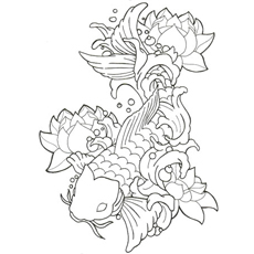 picture of fish with lotus - Koi Fish Coloring Pages