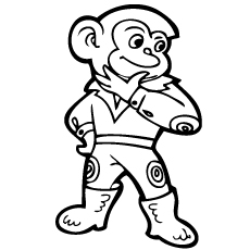 Printable Coloring Pages of Monkey posed as a Superhero