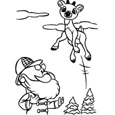 rudolph jumping coloring page