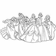six pretty image of disney princesses coloring pages - Disney Princess Coloring Pages Free Printable