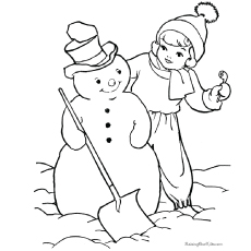 coloring picture of kids building snowman hat