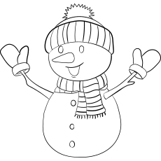 Snowman Wearing Hat Gloves