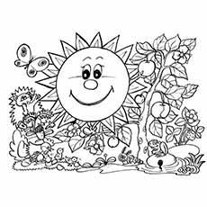 smiley sun in spring rabbit having fun with spring flowers coloring pages