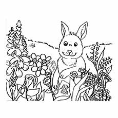 Rabbit Having Fun with Spring Flowers Coloring Pages