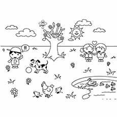 spring weather butterflys flying in spring weather coloring page for kids