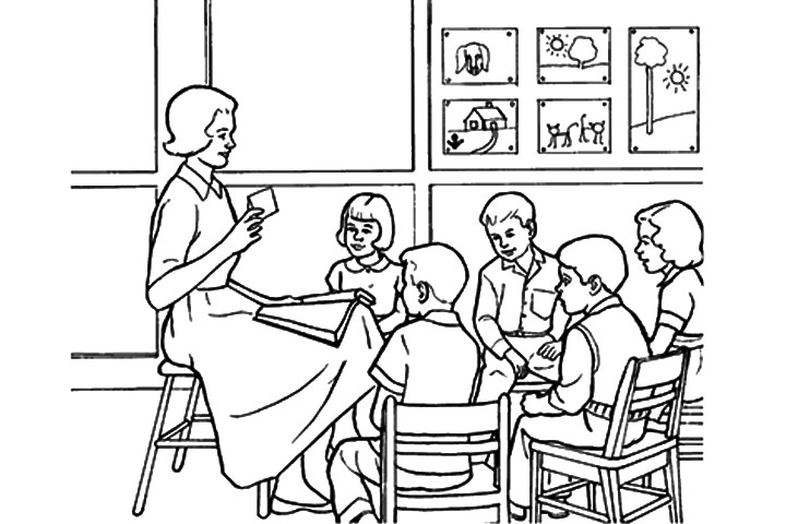 Classroom Drawing Sketch Coloring Page