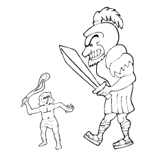 Biblical David and Goliath Coloring Pages