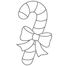 Candy Cane with Ribbon Ornament template Coloring Pages