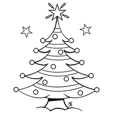 christmas tree decorated with ornaments - Printable Coloring Ornaments