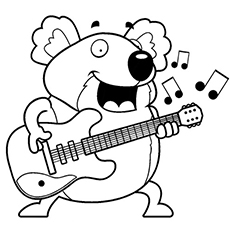 Chubby Guitarist Koala Picture to Color