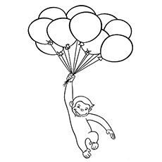 The Curious George Flying With Balloons Coloring Pages