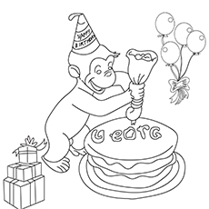 The Curious George Placing Icing On Cake