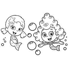 deema and oona gil and goby from bubble guppies coloring page