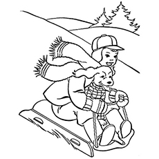 Dog On The Sled Coloring Page