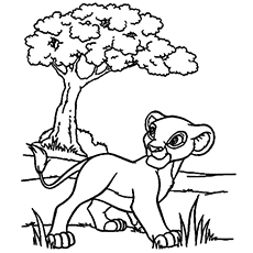 The Lion King Cartoon Character for Kids to Color