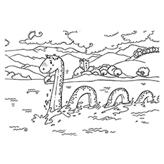 Coloring Picture of Loch Ness Monster