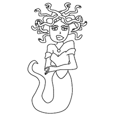 Medusa Monster of GorGon Picture to Color Free