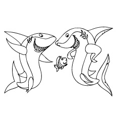 mighty sharks and funny fish ocean life coloring pages - Aquarium Coloring Pages Printable