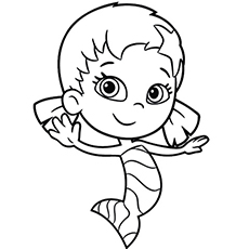 character little girl oona bubble puppy with a fish tail coloring page