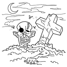 Zombie in the Graveyard to Color