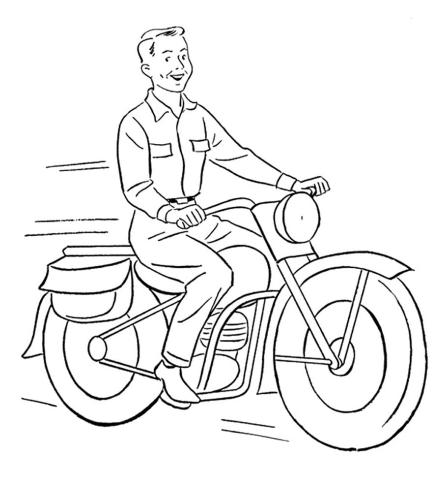 This is an image of Decisive motocycle coloring page
