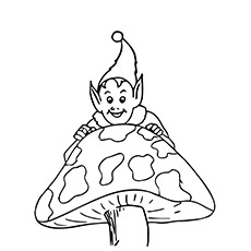 A Mushroom Coloring Pages Elf